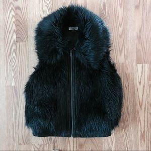 DKNY Black Faux Fur Vest w Zip and Hidden Pockets